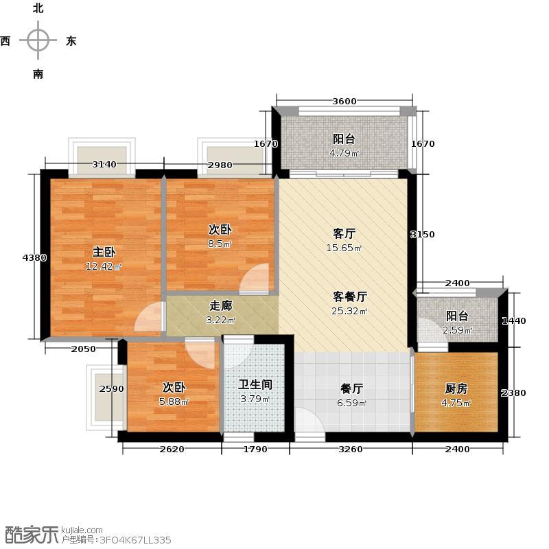 广州保利公园九里93.77㎡D5栋标准层04户型3室2厅1卫