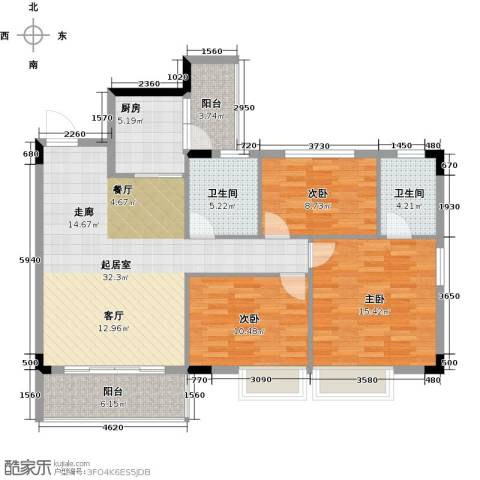 友田碧云轩3室0厅2卫1厨108.00㎡户型图
