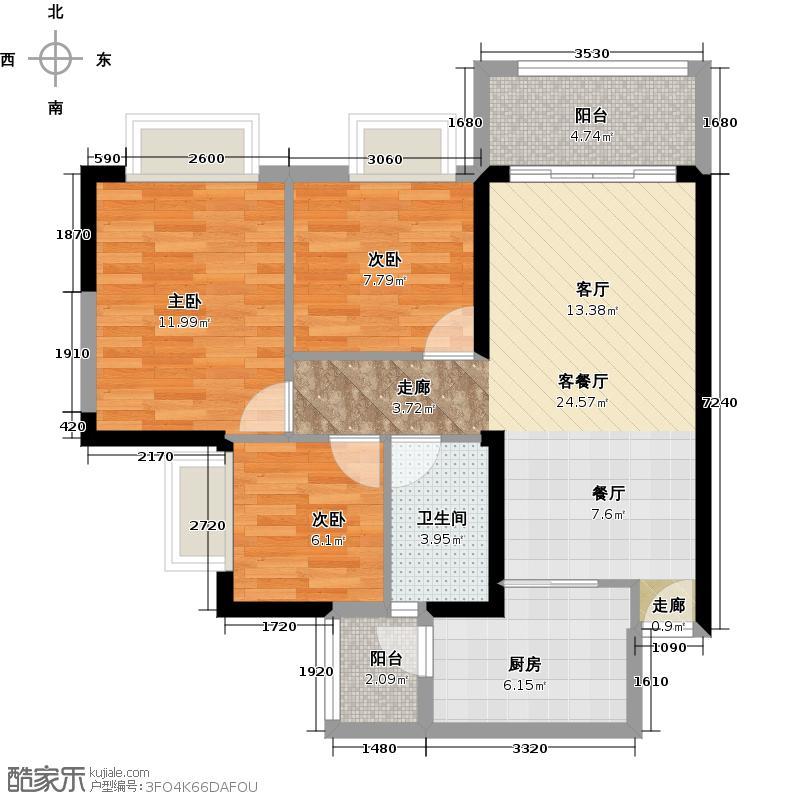 广州保利公园九里89.37㎡E3-A栋标准层03户型3室2厅1卫