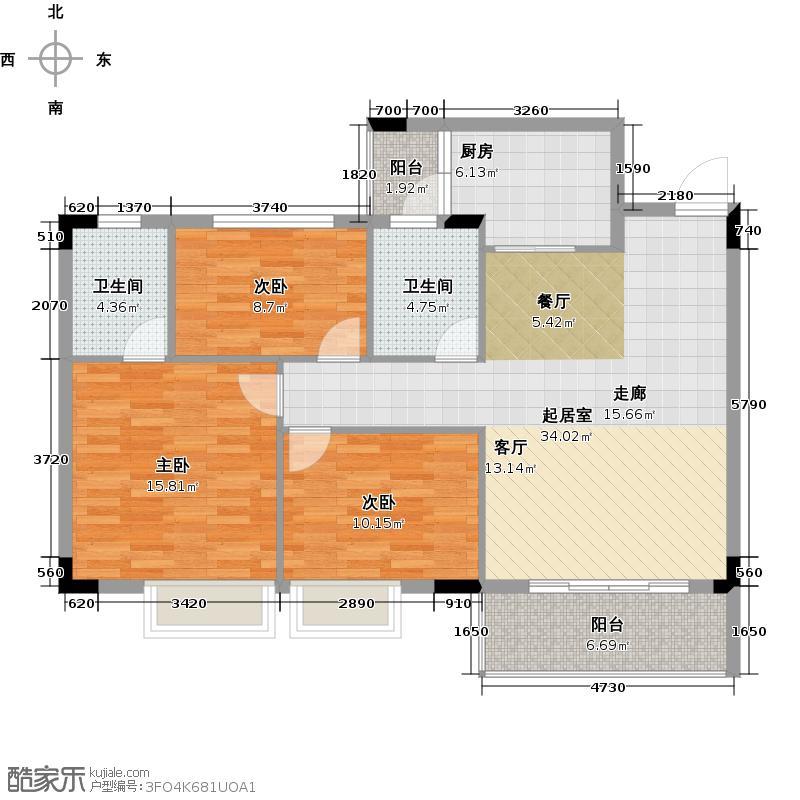 友田碧云轩109.00㎡1~5栋2~7层02户型3室2厅2卫