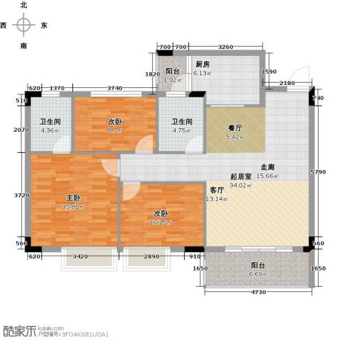 友田碧云轩3室0厅2卫1厨109.00㎡户型图