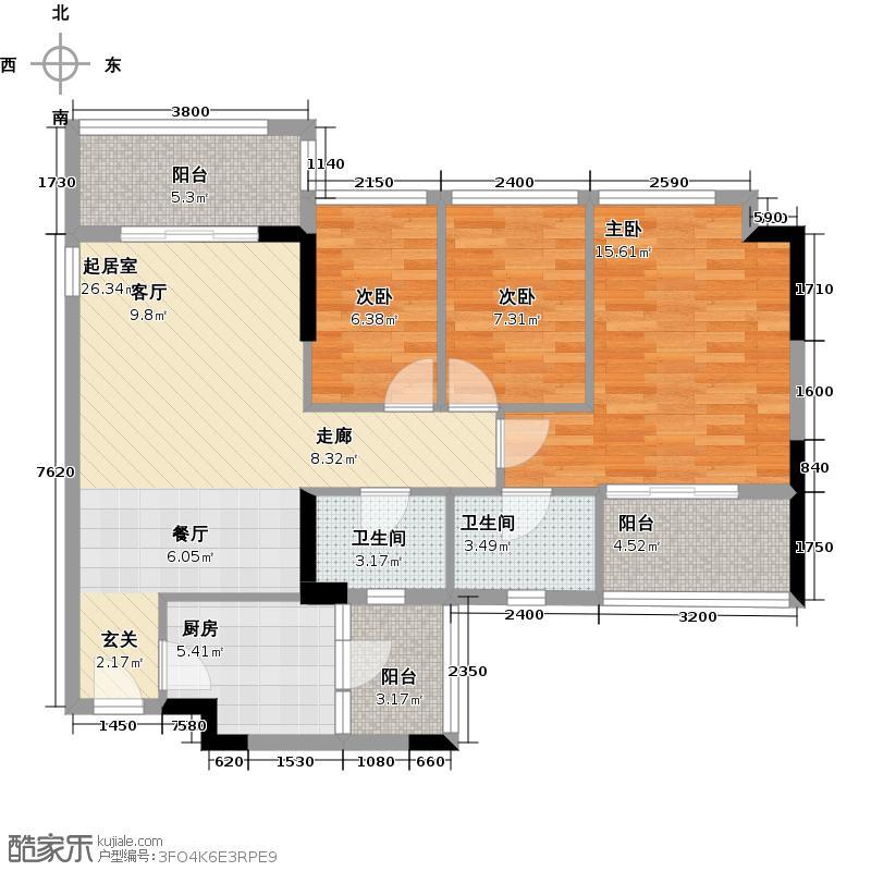 和黄懿花园89.00㎡经典3房2厅2卫户型3室2厅2卫