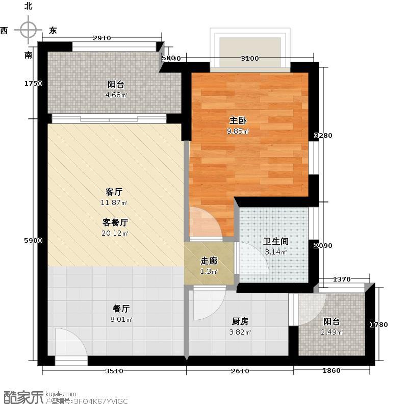 广州保利公园九里59.00㎡D7户型04单位户型1室2厅1卫