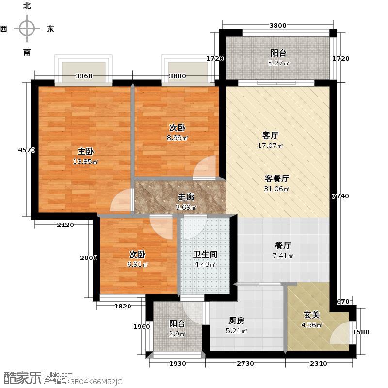 广州保利公园九里92.00㎡E地块1-2栋3-15层标准层03.04户型-3房2厅1卫户型3室2厅1卫