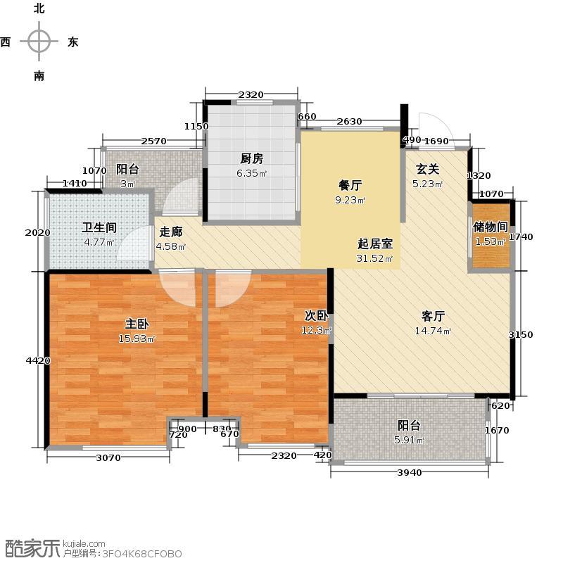 中建溪岸澜庭C7户型2室1卫1厨