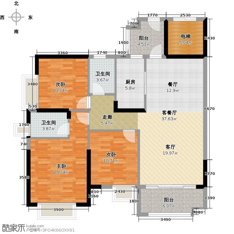 广州保利公园九里120.57㎡E8-A栋标准层 02户型3室2厅2卫