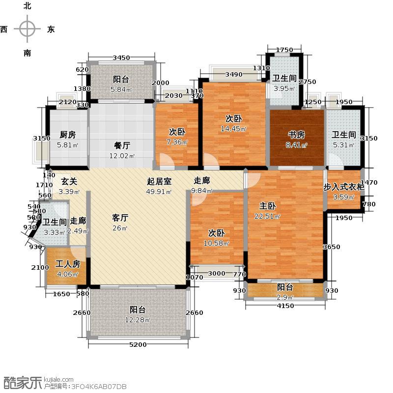 东湖洲花园3号楼304-C1型户型5室3卫1厨