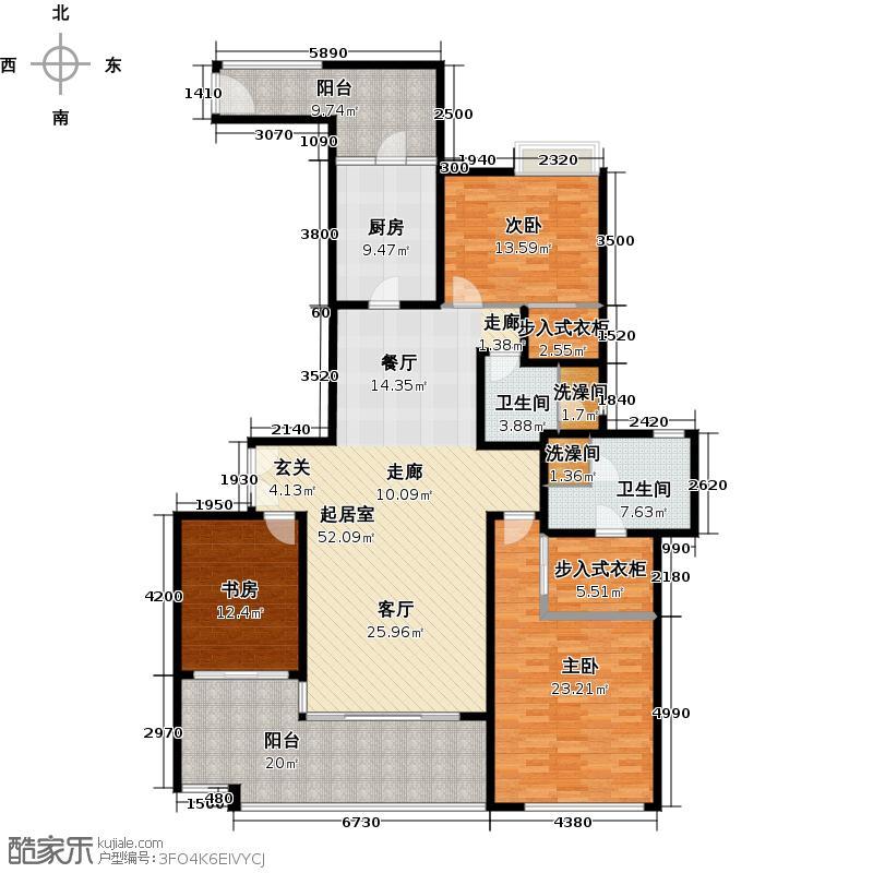 大学小筑6栋01单位户型3室2卫1厨