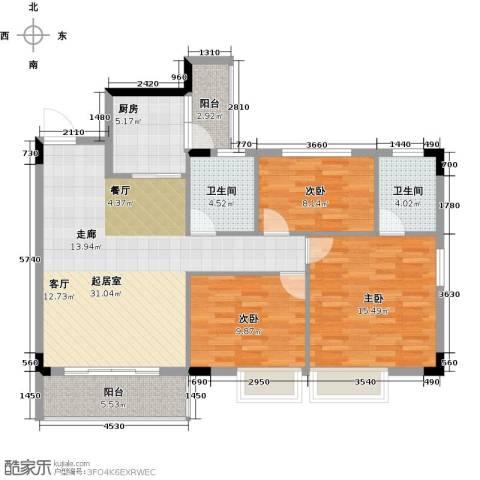 友田碧云轩3室0厅2卫1厨102.00㎡户型图