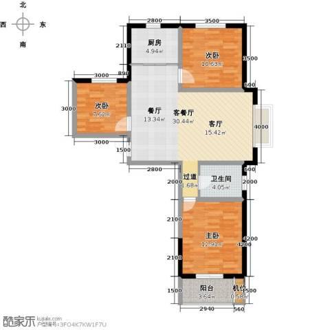珠峰国际花园三期3室1厅1卫1厨108.00㎡户型图