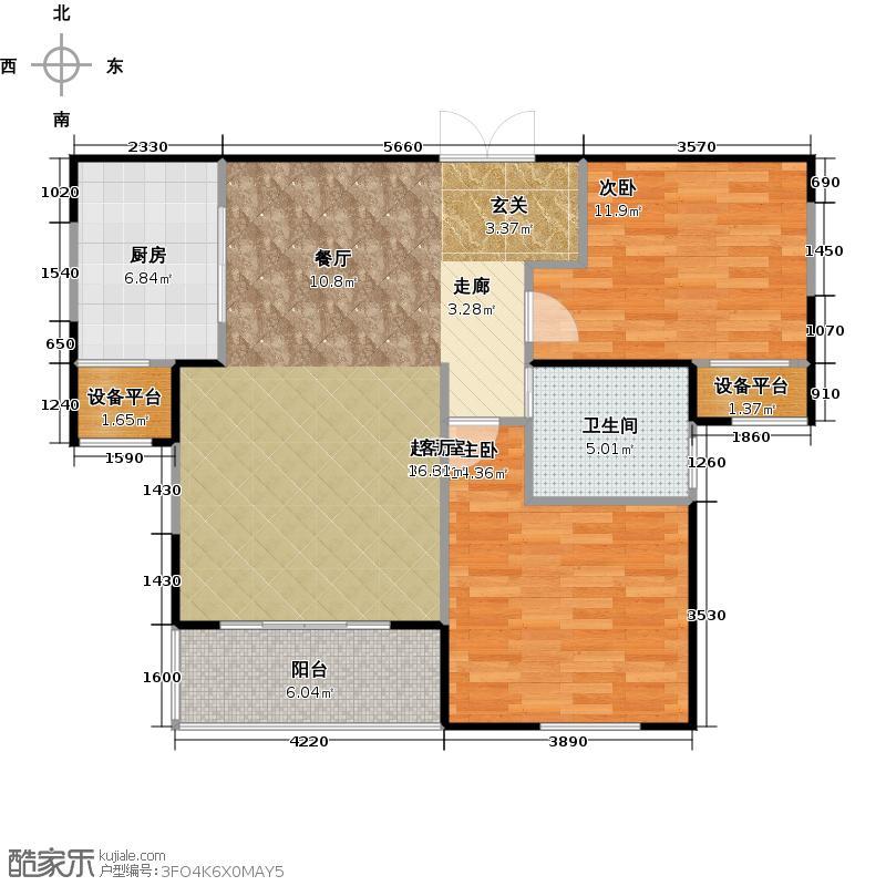 金地格林世界小高层B户型2室1卫1厨