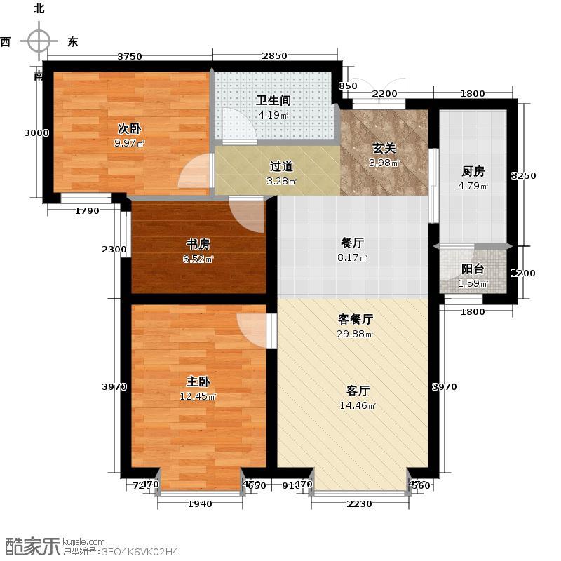 融创中心户型3室1厅1卫1厨