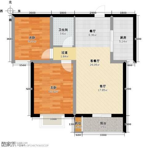 珠峰国际花园三期2室1厅1卫1厨87.00㎡户型图