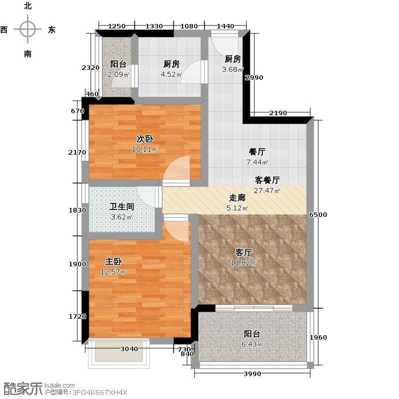 龙光棕榈水岸78.00㎡N202单位两房两厅两卫户型