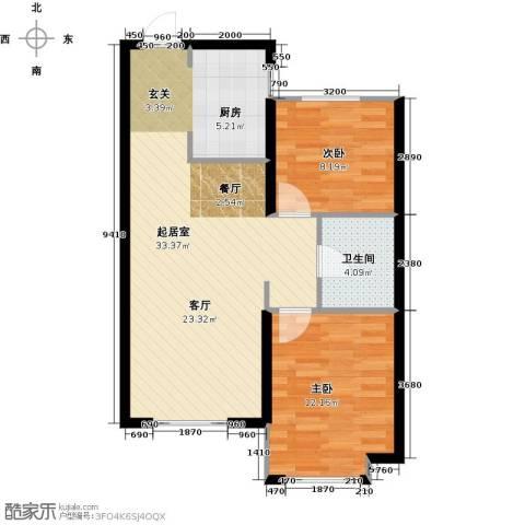 中国铁建・青秀蓝湾2室0厅1卫0厨82.00㎡户型图