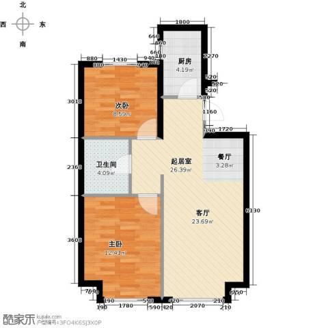 中国铁建・青秀蓝湾2室0厅1卫1厨80.00㎡户型图