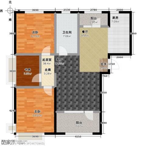 昊宇・山海湾3室0厅1卫0厨124.00㎡户型图