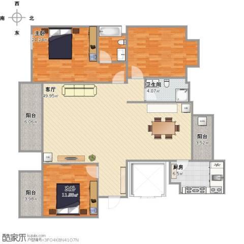 新方嘉园3室1厅1卫1厨162.00㎡户型图