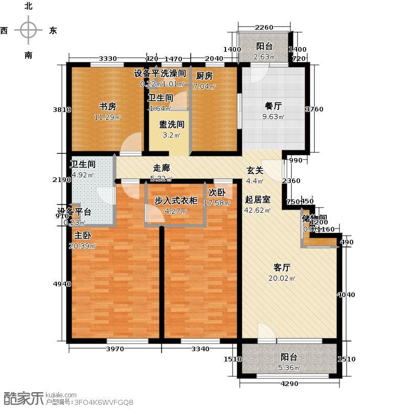 朗诗绿岛12号楼标准层户型3室2卫1厨