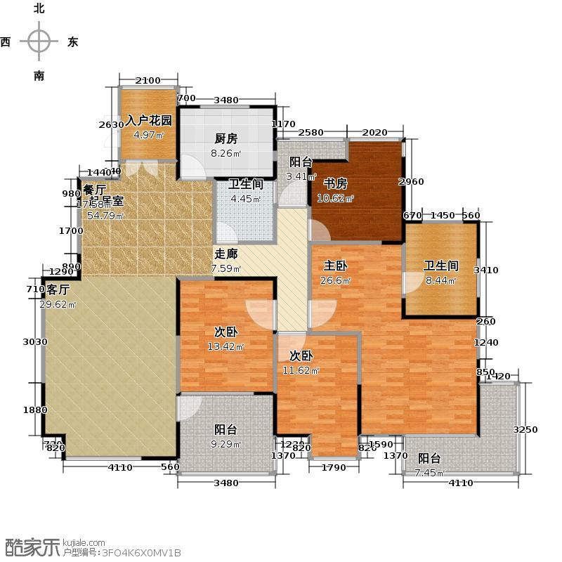 金地格林世界森林公馆A户型4室2卫1厨