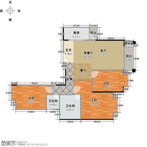 高雅湾3室1厅2卫1厨134.00㎡户型图
