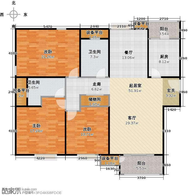 嘉亭菁苑3座03单元户型3室2卫1厨