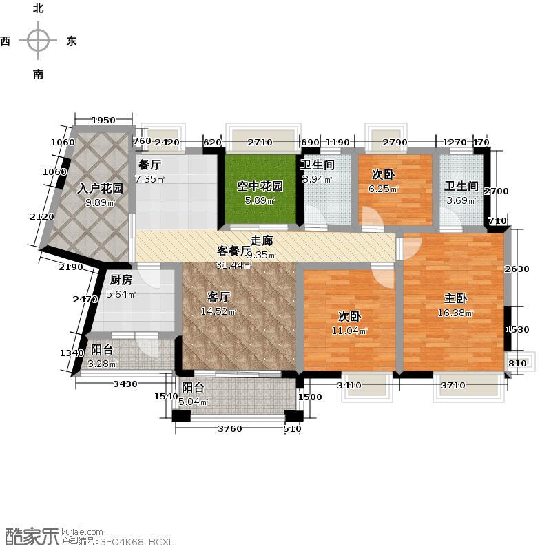 龙光棕榈水岸117.00㎡2期天悦组团N28栋04户型3室2厅2卫