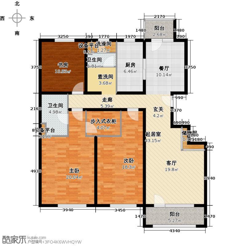 朗诗绿岛11号楼标准层户型3室2卫1厨