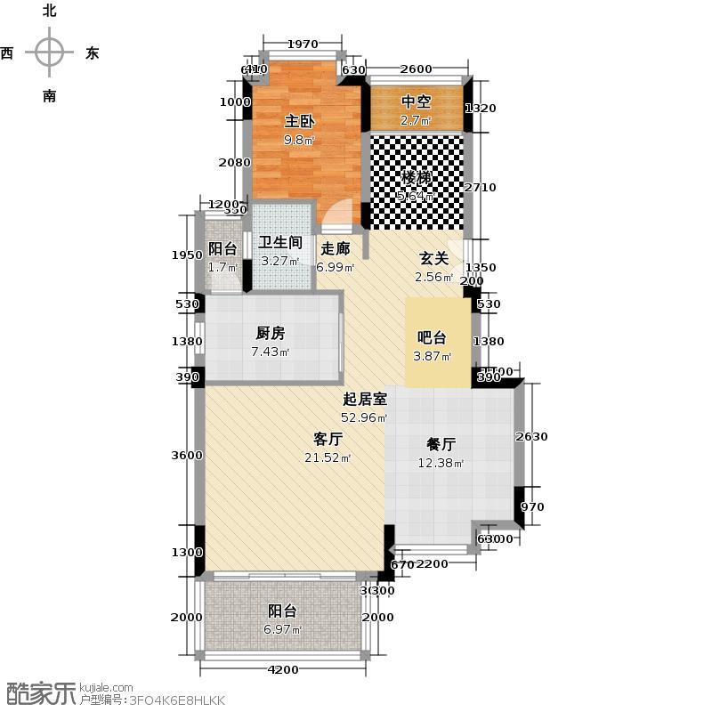 招商观园180.00㎡二期11栋A型复式下层4房2厅3卫180㎡户型4室2厅3卫
