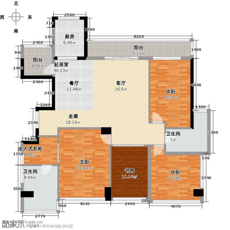 十五�花园171.00㎡G型2-16层4房2厅2卫户型