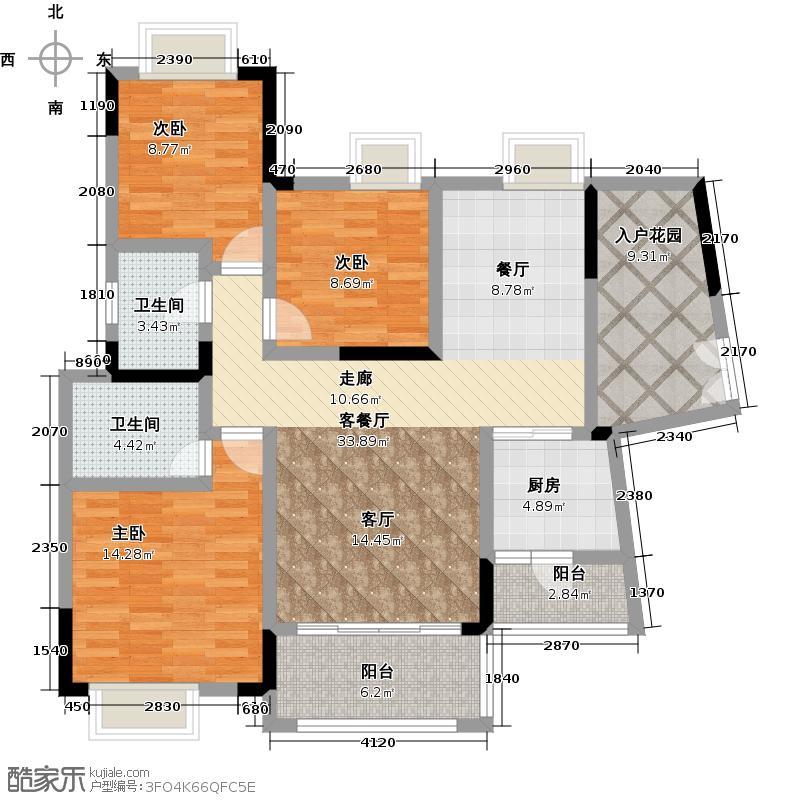 龙光棕榈水岸113.00㎡N25/N26栋03单位户型3室2厅2卫