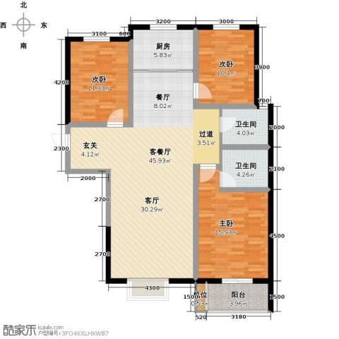 珠峰国际花园三期3室1厅2卫1厨145.00㎡户型图