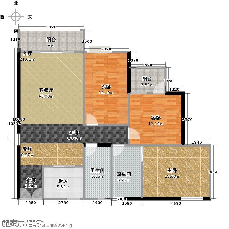 兰亭国际名园1座E+双阳台13208-户型3室1厅2卫1厨