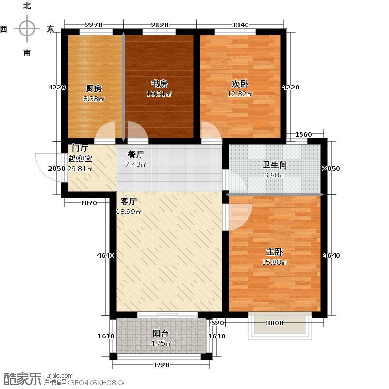 北京城建和平时光98.86㎡13#A户型3室2厅1卫1厨户型3室2厅1卫