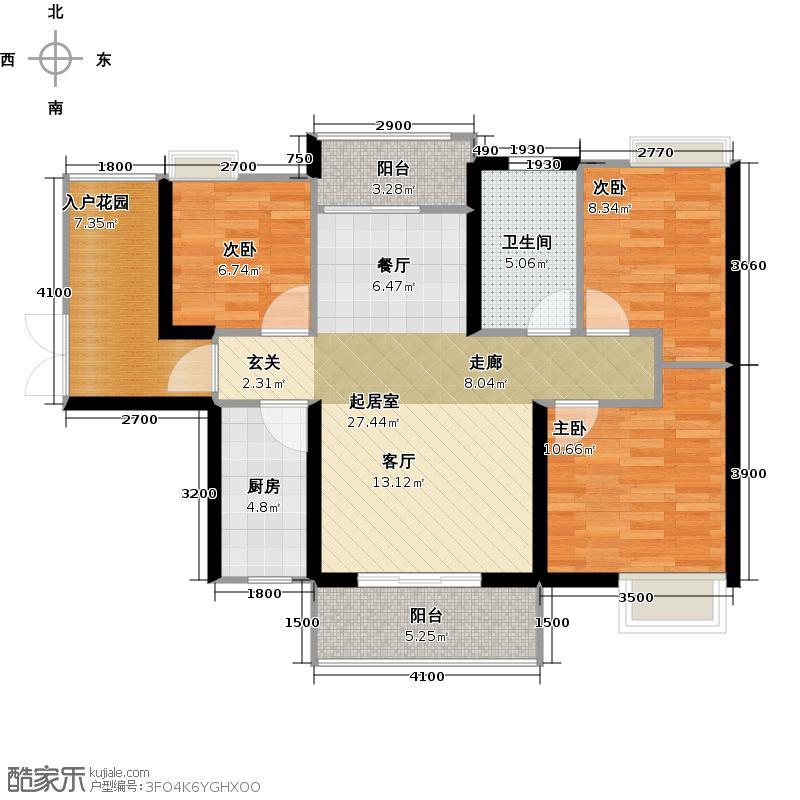富盈WO城3栋1单元0标准层射手座户型3室1卫1厨