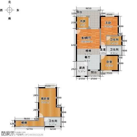 汇景・上层2室1厅3卫1厨169.00㎡户型图