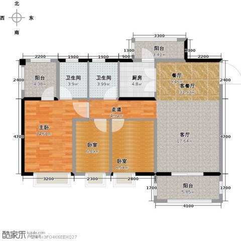 金田花园1室1厅2卫1厨106.00㎡户型图