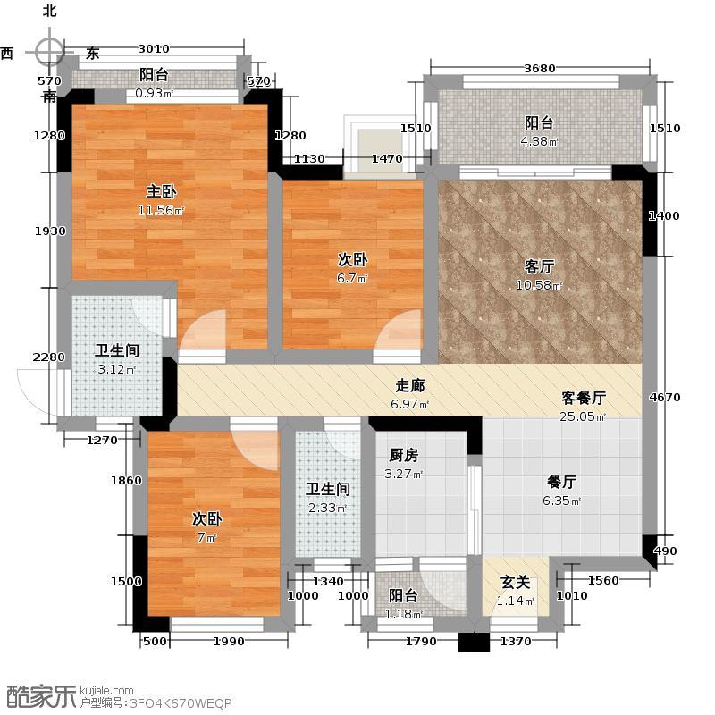 龙光棕榈水岸79.00㎡N1栋03户型两房两厅一卫户型