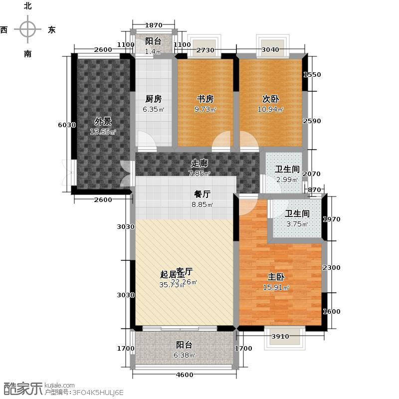 中房F联邦A3-1户型3室2卫1厨
