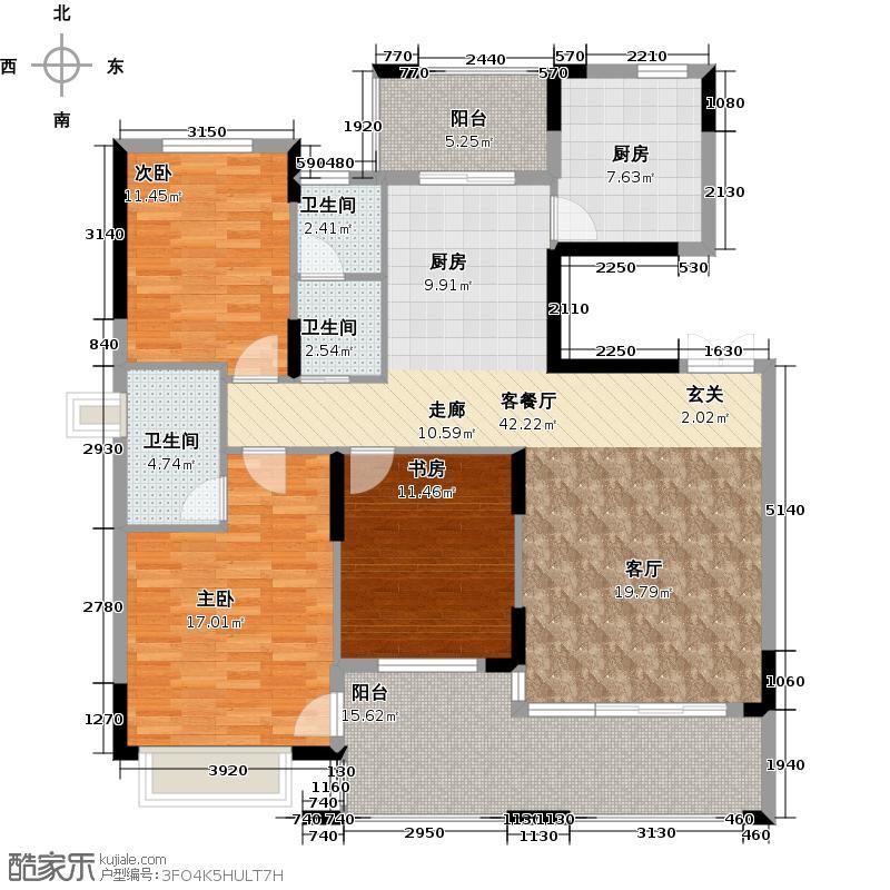 中城丽景香山户型3室1厅3卫1厨