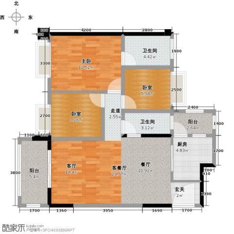 精英世家1室1厅2卫1厨108.00㎡户型图
