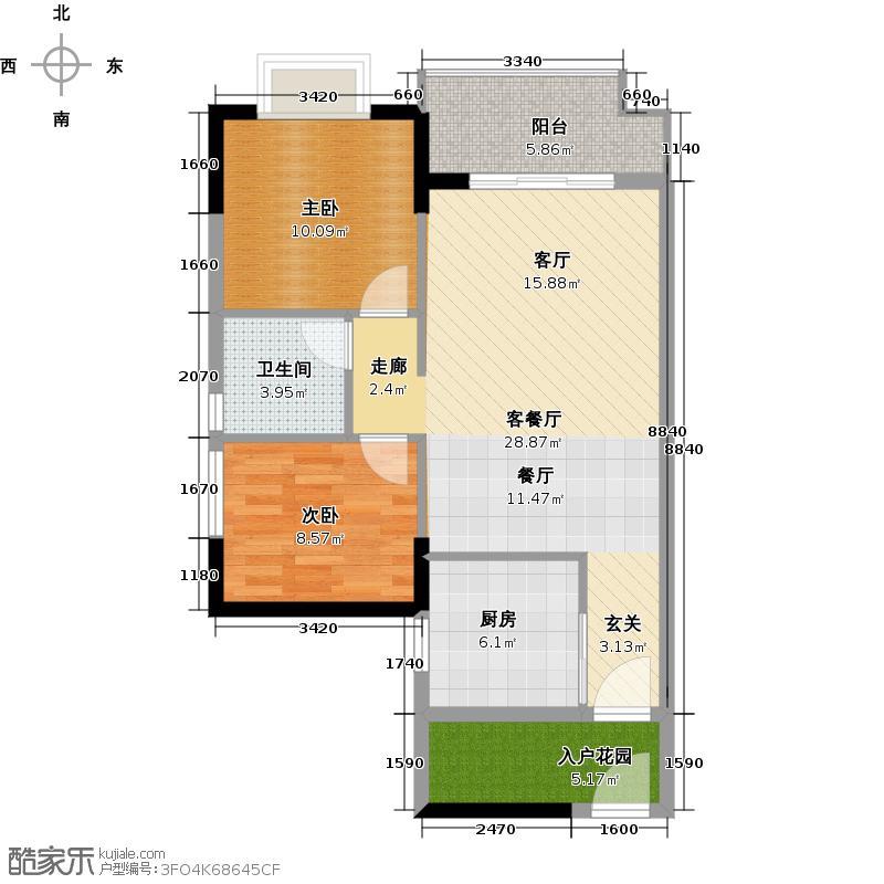 万科东荟城A21-4户型2室1厅1卫1厨