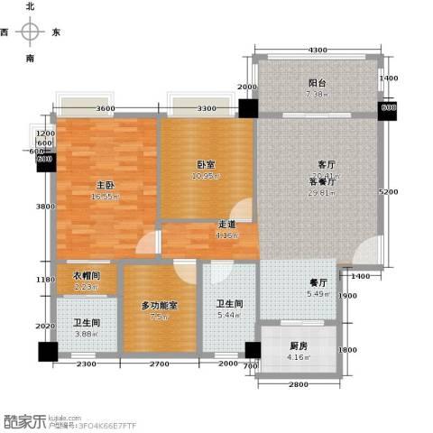 黄旗印象1室1厅2卫1厨123.00㎡户型图