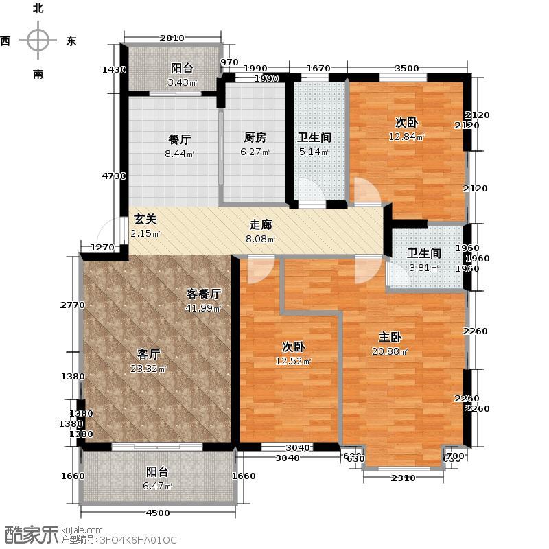 石家庄阳光里138.12㎡3室2厅2卫户型3室2厅2卫