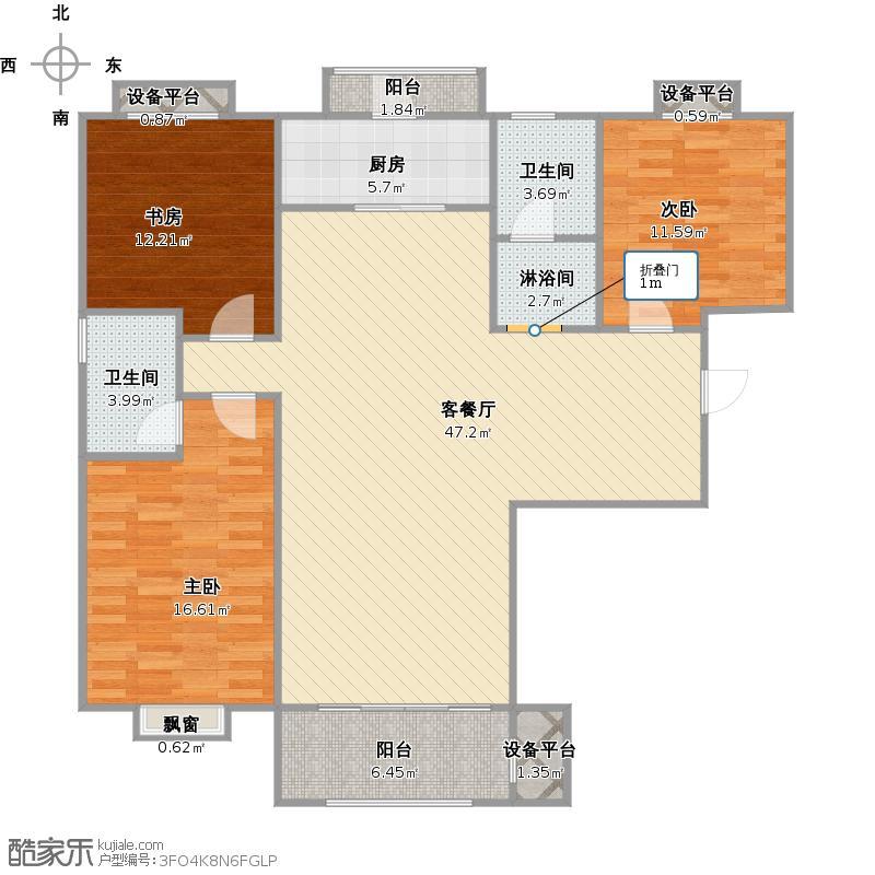 漫香郡+改后54号3室户型图