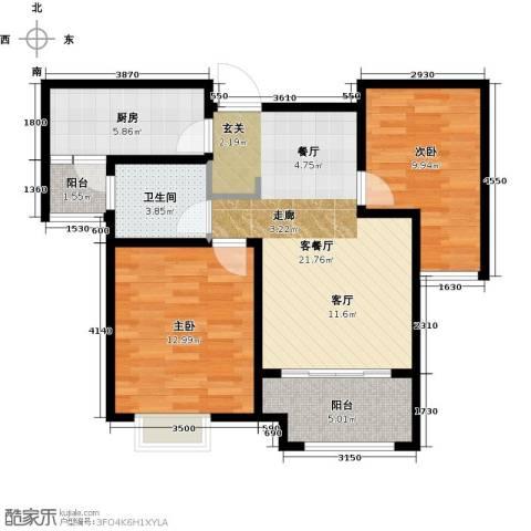 橡树湾2室1厅1卫1厨87.00㎡户型图