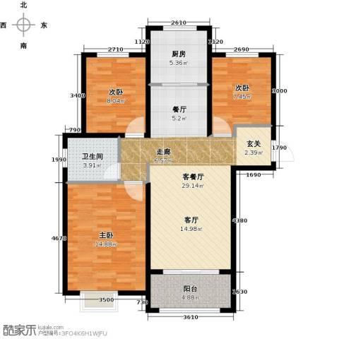 橡树湾3室1厅1卫1厨103.00㎡户型图
