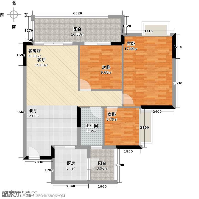 保利西海岸85.05㎡1-5#楼B梯04户型3室2厅1卫