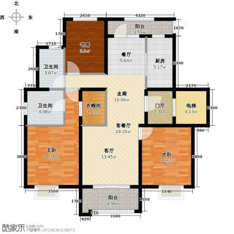 橡树湾3室1厅2卫1厨137.00㎡户型图