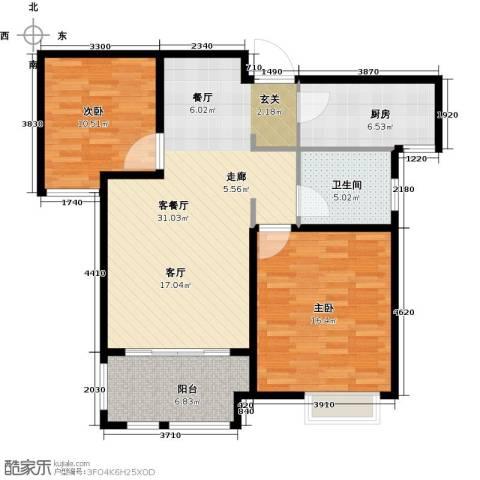 橡树湾2室1厅1卫1厨106.00㎡户型图